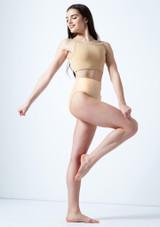 Move Dance Carpo Camisole Crop Top Tan front. [Tan]