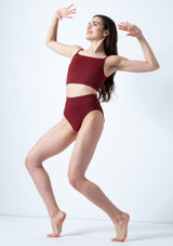 Move Dance Carpo Camisole Crop Top Red front. [Red]