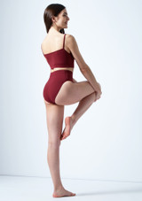 Move Dance Carpo Camisole Crop Top Red back. [Red]