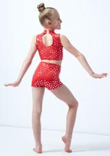 Alegra Girls Metallic Print Maris Dance Crop Top Red back. [Red]