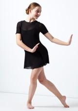 Move Dance Teen Kari Short Sleeve Lyrical Dress Black front. [Black]