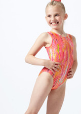 Alegra Girls Sunset Sleeveless Gymnastics Leotard Orange front. [Orange]
