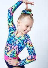 Alegra Girls Rainbow Long Sleeve Gymnastics Leotard Blue front #2. [Blue]