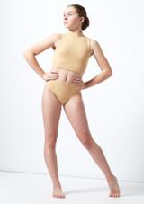 Move Dance Teen Cyllene Keyhole Crop Top Tan front. [Tan]