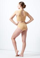 Move Dance Teen Cyllene Keyhole Crop Top Tan back. [Tan]