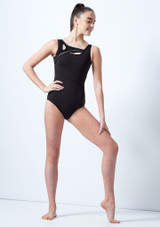 Capezio Teen Cut Out Tank Leotard Black front. [Black]