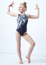 Alegra Girls Arc Gem Printed Sleeveless Gymnastics Leotard Grey front. [Grey]