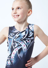 Alegra Girls Arc Gem Printed Sleeveless Gymnastics Leotard Grey front #2. [Grey]