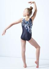 Alegra Girls Arc Gem Printed Sleeveless Gymnastics Leotard Grey back. [Grey]