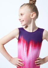 Alegra Girls Pink Galaxy Sleeveless Gymnastics Leotard front #2. [Pink]