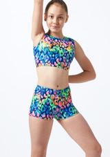 Alegra Girls Rainbow Gymnastics Crop Top Blue front. [Blue]