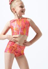 Alegra Girls Sunset Gymnastics Crop Top Orange front. [Orange]