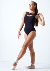 Intermezzo Open Back Lace Leotard Black Front-1 [Black]