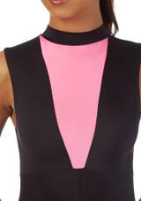 Alegra Fuse Halterneck Leotard Black-Pink front. [Black-Pink]