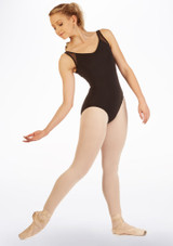Capezio V-Neck and Mesh Leotard Black front. [Black]