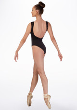 Basilica Lace Low Back Leotard Black back. [Black]
