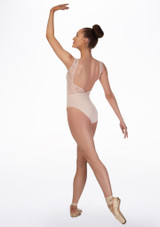 Basilica Lace Low Back Leotard Pink back. [Pink]