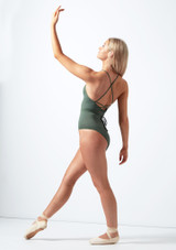 Capezio Cross Back Ribbed Camisole Leotard Green back. [Green]