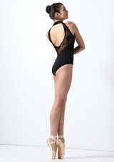 Intermezzo Open Back Flock Mesh Leotard Black back. [Black]
