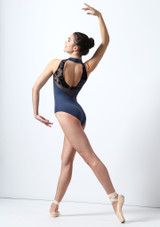 Intermezzo Open Back Flock Mesh Leotard Blue back. [Blue]
