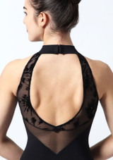 Intermezzo Open Back Flock Mesh Leotard Black #3. [Black]