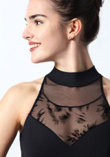 Intermezzo Open Back Flock Mesh Leotard Black. [Black]