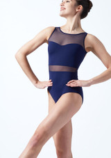 Intermezzo Mesh Open Back Leotard Blue front. [Blue]