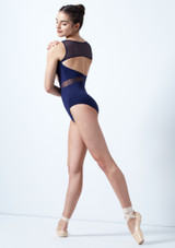 Intermezzo Mesh Open Back Leotard Blue back. [Blue]