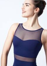 Intermezzo Mesh Open Back Leotard Blue #4. [Blue]