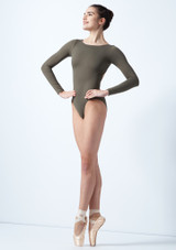 Intermezzo Long Sleeve Open Back Leotard Green front. [Green]