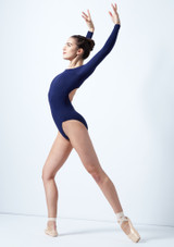 Intermezzo Long Sleeve Open Back Leotard Blue front. [Blue]