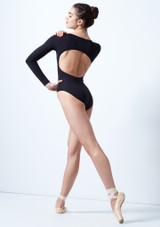 Intermezzo Long Sleeve Open Back Leotard Black back. [Black]