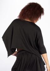 Dincwear Ladies Bat Wing Crop Top Black #2. [Black]