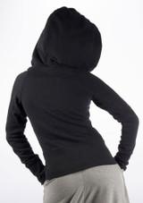 Dincwear Ladies Oversized Hood Zipper Jacket Black #3. [Black]