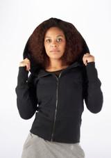 Dincwear Ladies Oversized Hood Zipper Jacket Black #2. [Black]