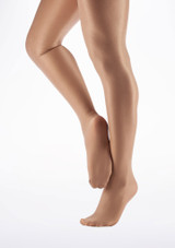 Capezio Shimmer Footed Tight Light Toast Brown front. [Brown]