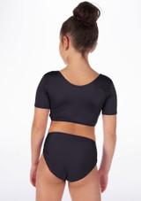 Alegra Girls Shiny Odele Crop Top Black back. [Black]