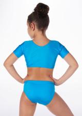 Alegra Girls Shiny Odele Crop Top Blue back. [Blue]