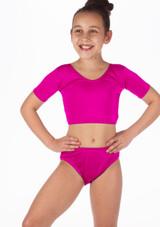 Alegra Girls Shiny Odele Crop Top Pink front. [Pink]