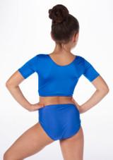 Alegra Girls Shiny Odele Crop Top Blue back #2.