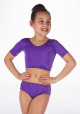 Alegra Girls Shiny Odele Crop Top Purple front #2.