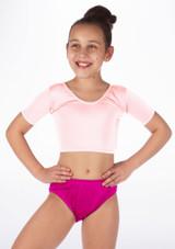 Alegra Girls Shiny Odele Crop Top Pink front #2.