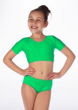 Alegra Girls Shiny Odele Crop Top Green front.