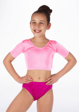 Alegra Girls Shiny Odele Crop Top Pink front #3. [Pink]