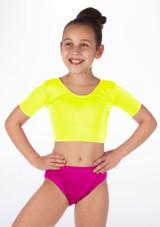 Alegra Girls Shiny Odele Crop Top Yellow front #2.
