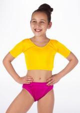 Alegra Girls Shiny Odele Crop Top Yellow front.