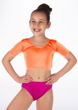 Alegra Girls Shiny Odele Crop Top Orange front.