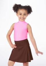 Alegra Shiny Mid Circle Skirt Brown.