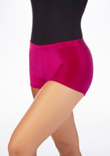 Tappers & Pointers Velvet Gymnastic Shorts Pink front. [Pink]