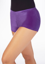 Tappers & Pointers Velvet Gymnastic Shorts Purple front. [Purple]